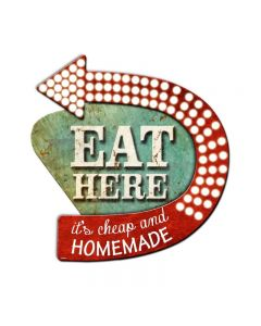 3-D Eat Here  Sign Vintage Sign, 3-D, Metal Sign, Wall Art, 21 X 24 Inches