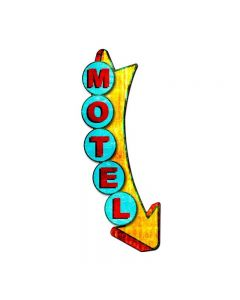 3-D Motel  Metal Display Vintage Sign, 3-D, Metal Sign, Wall Art, 10 X 26 Inches