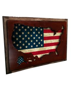 3-D  Usa Map Display Vintage Sign, 3-D, Metal Sign, Wall Art, 18 X 12 Inches