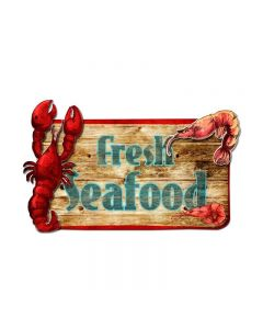 3-D Fresh Seafood  Vintage Sign, 3-D, Metal Sign, Wall Art, 26 X 14 Inches