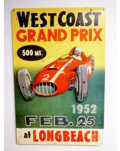 3-D West Coast Grand Prix  Vintage Sign, 3-D, Metal Sign, Wall Art, 16 X 24 Inches