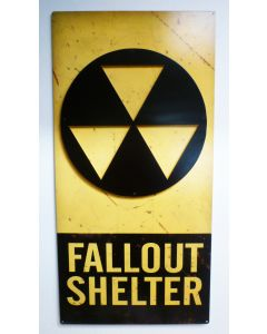 3-D Fallout Shelter   Vintage Sign, 3-D, Metal Sign, Wall Art, 16 X 24 Inches