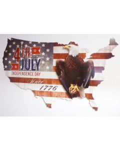 3-D 4Th Of July  Usa Eagle   Vintage Sign, 3-D, Metal Sign, Wall Art, 35 X 21 Inches