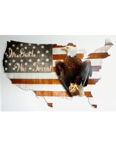 3-D In God We Trust Usa   Vintage Sign, 3-D, Metal Sign, Wall Art, 35 X 21 Inches