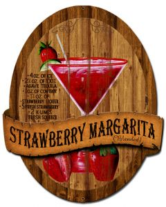 3-D Strawberry Margarita , Food & Drink, Metal Sign, Wall Art, 13 X 16 Inches