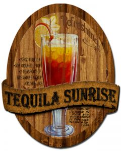 3-D Tequila Sunrise , 3-D, Metal Sign, Wall Art, 13 X 16 Inches