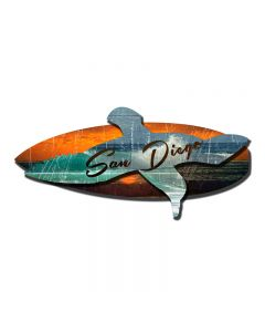 3-D Sea Surf Sd , 3-D, Metal Sign, Wall Art, 24 X 10 Inches