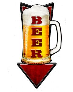 3-D Cold Beer Arrow  Vintage Sign, 3-D, Metal Sign, Wall Art, 24 X 10 Inches
