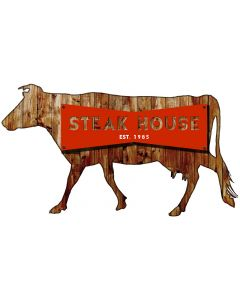 3-D Steakhouse  Vintage Sign, 3-D, Metal Sign, Wall Art, 30 X 18 Inches