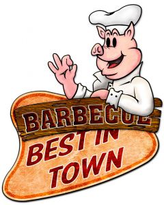 3-D Barbecue Best In Town  Vintage Sign, 3-D, Metal Sign, Wall Art, 22 X 26 Inches