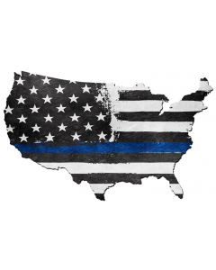 USA Map Thin Blue Line, Patriotic, Metal Sign, Wall Art, 25 X 16 Inches