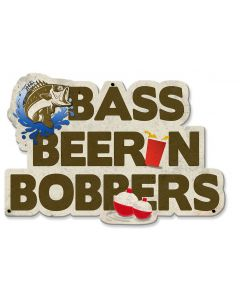 Bass, Beer 'n' Bobbers Vintage Sign, Man Cave, Metal Sign, Wall Art, 19 X 13 Inches