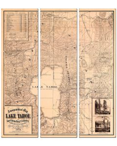 Lake Tahoe Map Vintage Sign, Travel, Metal Sign, Wall Art, 36 X 42 Inches