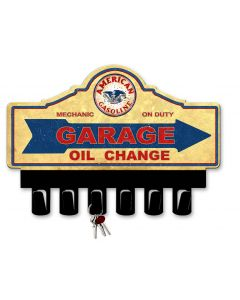 American Gas Key Hanger Vintage Sign, Oil & Petro, Metal Sign, Wall Art, 14 X 10 Inches