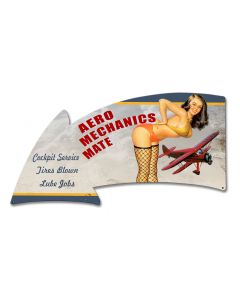 Aero Mechanics Mate Arrow Vintage Sign, Aviation, Metal Sign, Wall Art, 26 X 14 Inches