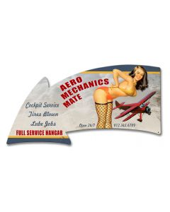 Aero Mechanics Mate Full Service Arrow Vintage Sign, Aviation, Metal Sign, Wall Art, 21 X 11 Inches