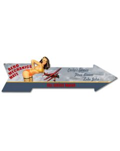 Aero Mechanics Arrow Vintage Sign, Aviation, Metal Sign, Wall Art, 31 X 9 Inches