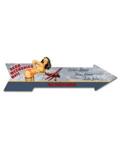 Aero Mechanics Arrow Vintage Sign, Aviation, Metal Sign, Wall Art, 29 X 8 Inches
