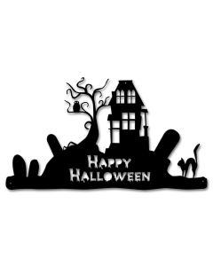 Happy Halloween Cutout Vintage Sign, Halloween, Metal Sign, Wall Art, 20 X 12 Inches