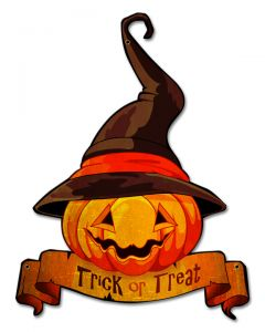 Trick or Treat Jack O'Lantern Vintage Sign, Halloween, Metal Sign, Wall Art, 18 X 20 Inches