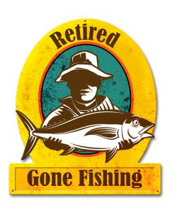 Gone Fishing Retired Vintage Sign, Barn and Country, Metal Sign, Wall Art, 13 X 15 Inches