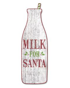 Milk For Santa Vintage Sign, Seasonal, Metal Sign, Wall Art, 29 X 9 Inches