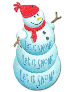 Let It Snow Snowman Vintage Sign, Seasonal, Metal Sign, Wall Art, 12 X 20 Inches