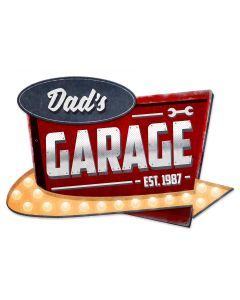 3-D Dad's Garage Vintage Sign, 3-D, Metal Sign, Wall Art, 23 X 15 Inches