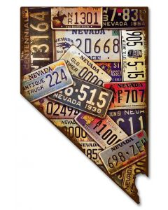 Nevada License Plates Vintage Sign, License Plates, Metal Sign, Wall Art, 10 X 16 Inches