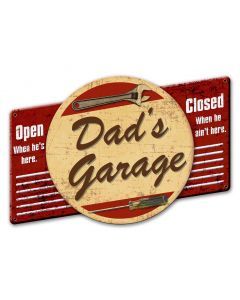 3-D Dad's Garage, 3-D, Metal Sign, Wall Art, 22 X 16 Inches