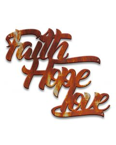 Faith Hope Love Vintage Sign, Ocean and Beach, Metal Sign, Wall Art, 14 X 12 Inches