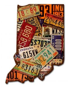 Indiana License Plates Vintage Sign, License Plates, Metal Sign, Wall Art, 10 X 13 Inches