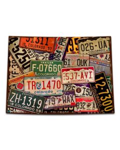 Colorado License Plates Vintage Sign, License Plates, Metal Sign, Wall Art, 15 X 11 Inches