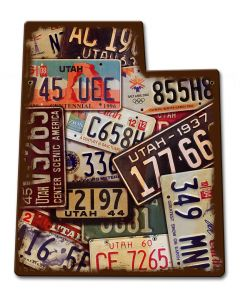 Utah License Plates Vintage Sign, License Plates, Metal Sign, Wall Art, 11 X 13 Inches