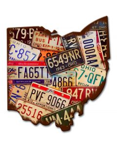 Ohio License Plates Vintage Sign, License Plates, Metal Sign, Wall Art, 11 X 13 Inches