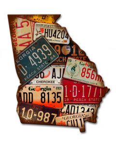Georgia License Plates Vintage Sign, License Plates, Metal Sign, Wall Art, 10 X 12 Inches