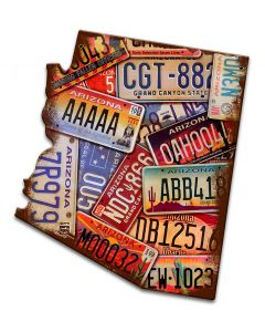 Arizona License Plates Vintage Sign, License Plates, Metal Sign, Wall Art, 11 X 12 Inches