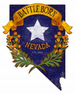 3-D Battle Born Nevada State Cutout Vintage Sign, Travel, Metal Sign, Wall Art, 18 X 22 Inches