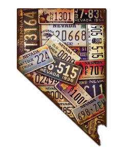Nevada License Plates Vintage Sign, License Plates, Metal Sign, Wall Art, 14 X 22 Inches