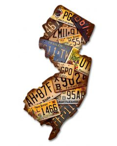 New Jersey License Plates Vintage Sign, License Plates, Metal Sign, Wall Art, 10 X 18 Inches