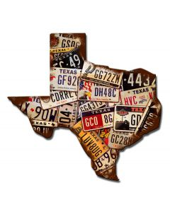 Texas License Plates Vintage Sign, License Plates, Metal Sign, Wall Art, 15 X 15 Inches