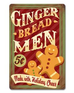 Gingerbread Men Holiday, Seasonal, Metal Sign, Wall Art, 12 X 18 Inches
