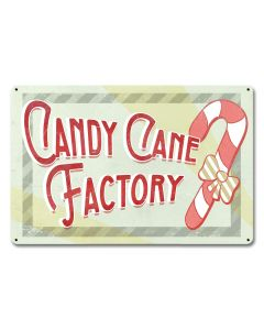 Candy Cane Factory, Seasonal, Metal Sign, Wall Art, 18 X 12 Inches