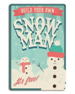 Build Your Own Snowman, Seasonal, Metal Sign, Wall Art,  X  Inches