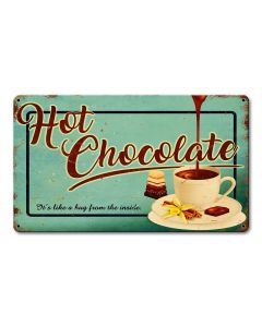 Hot Chocolate, Seasonal, Metal Sign, Wall Art, 14 X 8 Inches