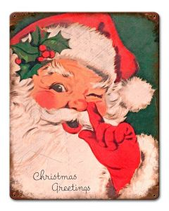 Christmas Greetings Vintage Santa, Seasonal, Metal Sign, Wall Art, 12 X 15 Inches