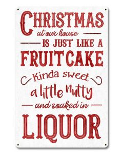 Christmas Fruitcake, Seasonal, Metal Sign, Wall Art, 12 X 18 Inches