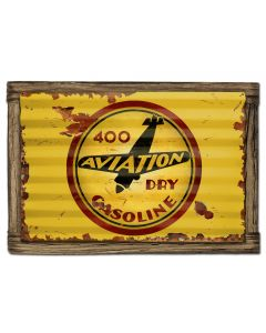 400 Aviation Gasoline Vintage Sign, Oil & Petro, Metal Sign, Wall Art, 24 X 16 Inches