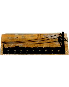 Lineman Keyholder Wood Background Vintage Sign, Lineman, Metal Sign, Wall Art, 22 X 6 Inches