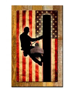 Lineman Us Flag Bottle Opener With Wood Backing Vintage Sign, Lineman, Metal Sign, Wall Art, 10 X 16 Inches